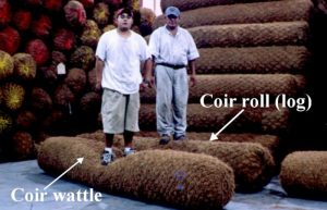 Picture to show the difference between coir wattles and coir logs.