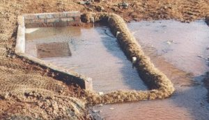 Coir wattles in grade inlet protection.