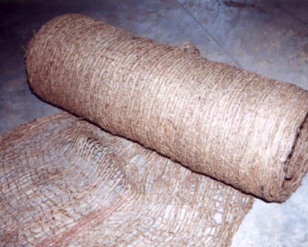 Roll of JuteMat, temporary erosion control blanket.