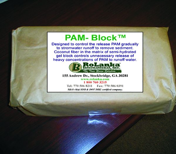 PAM block for sediment control.