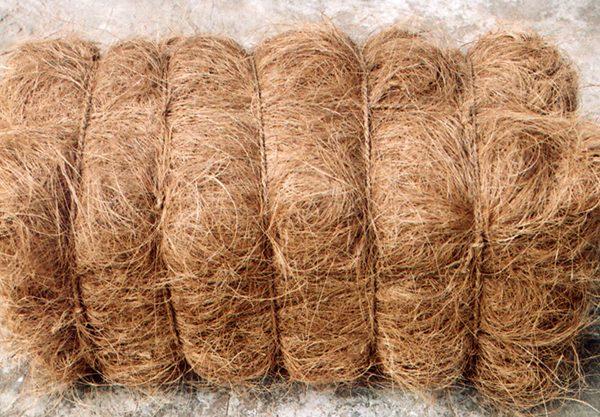 Bale of bristle coir fiber.