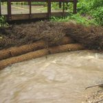 Streambank restoration with BioD-Roll 30 (12-in. dia.) coir log.