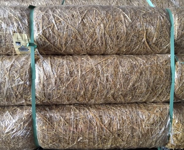 Picture of BioD-Straw, a completely biodegradable temporary erosion control blanket.